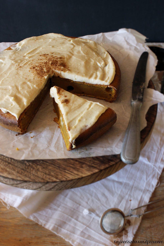 Rezept für einen Kürbiskuchen mit Ahornsirupfrosting Hey Foodsister