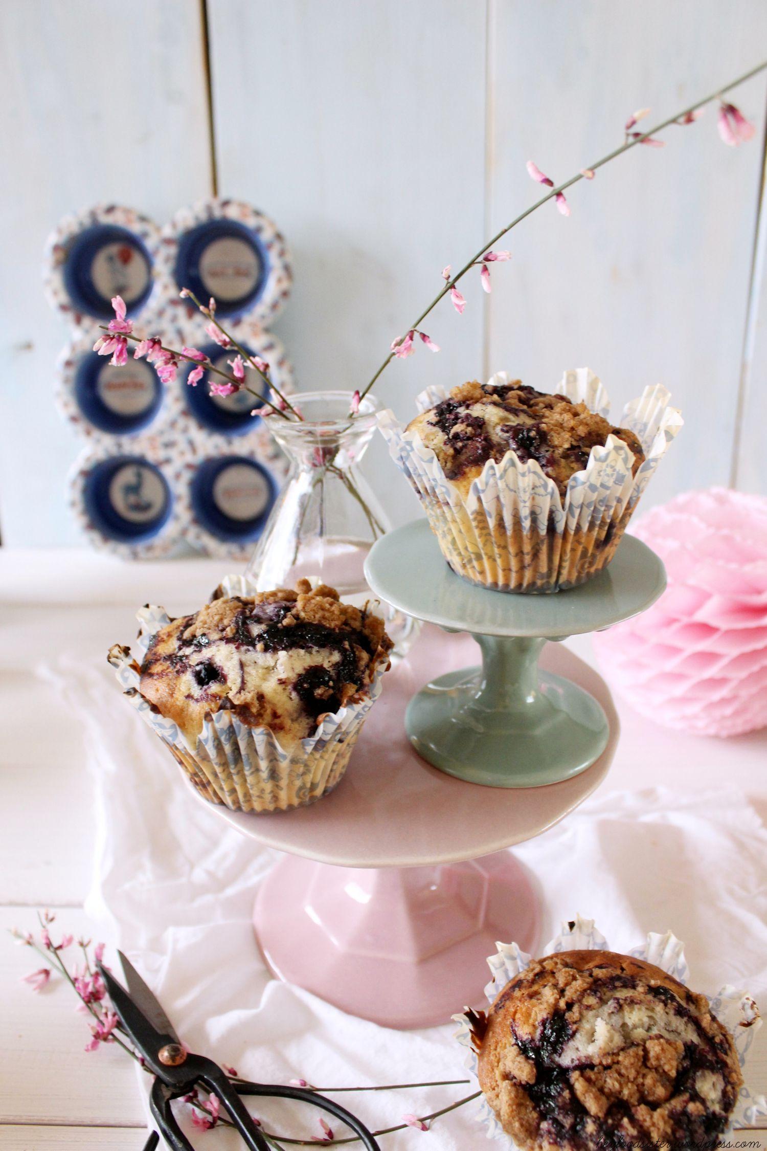 Rezept für Blaubeer Muffins mit Streuseln