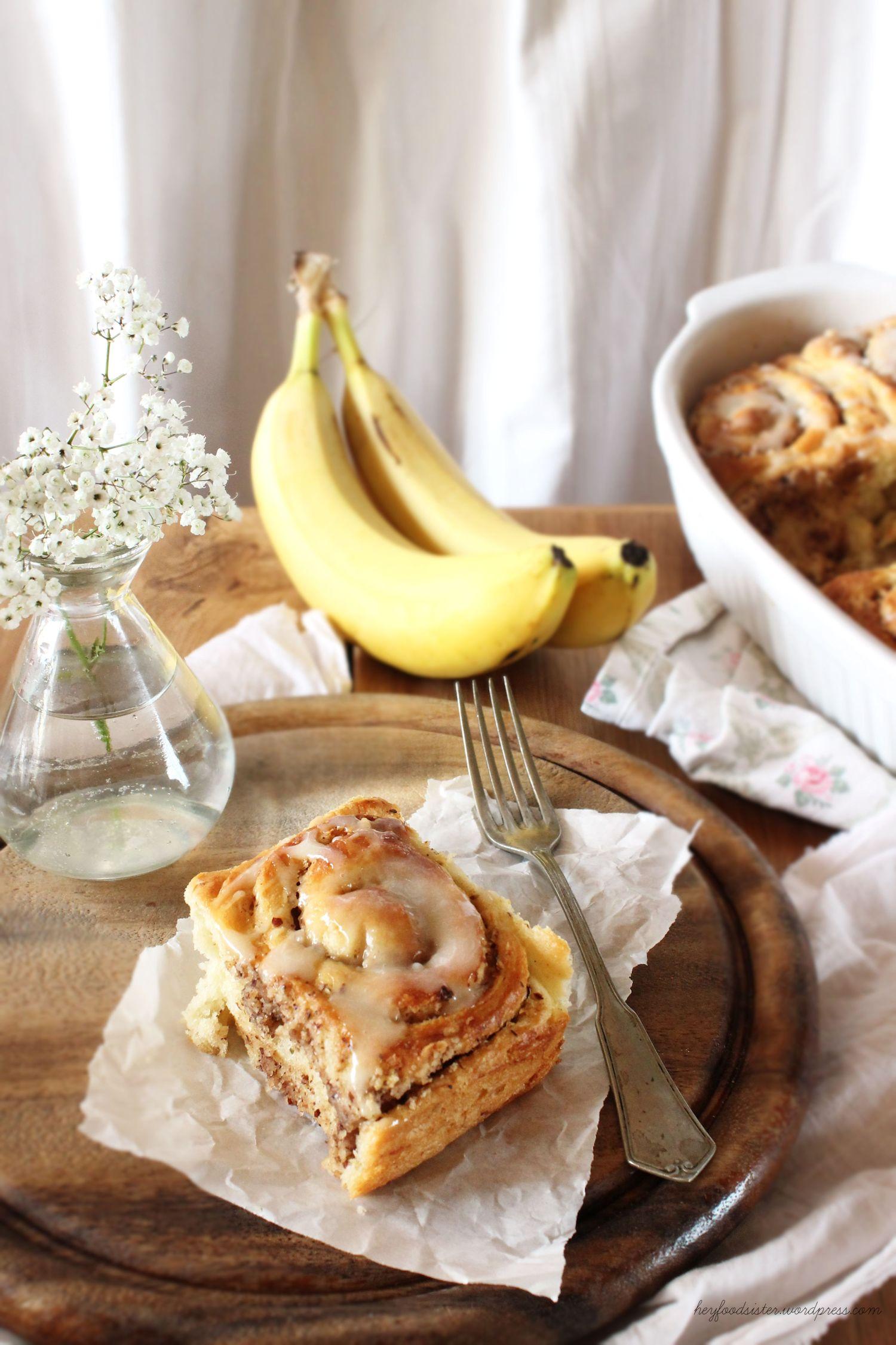 Rezept für nussige Bananezimtschnecken mit Honigglasur