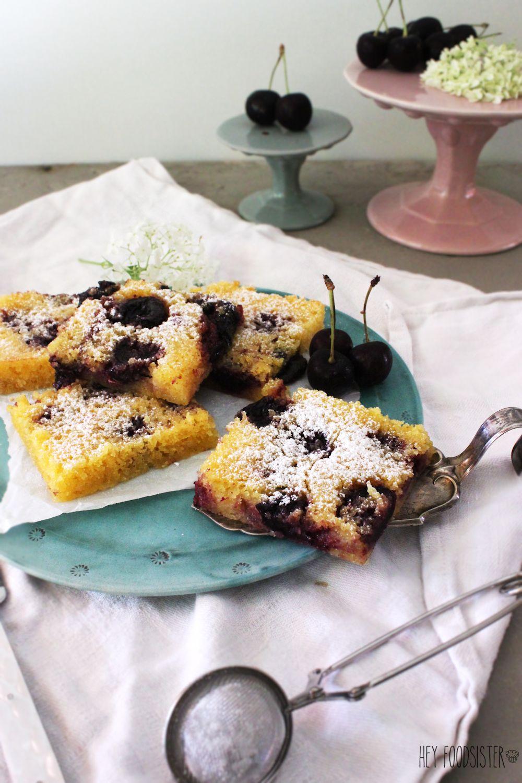 Rezept für einen Kirschkuchen mit Polenta