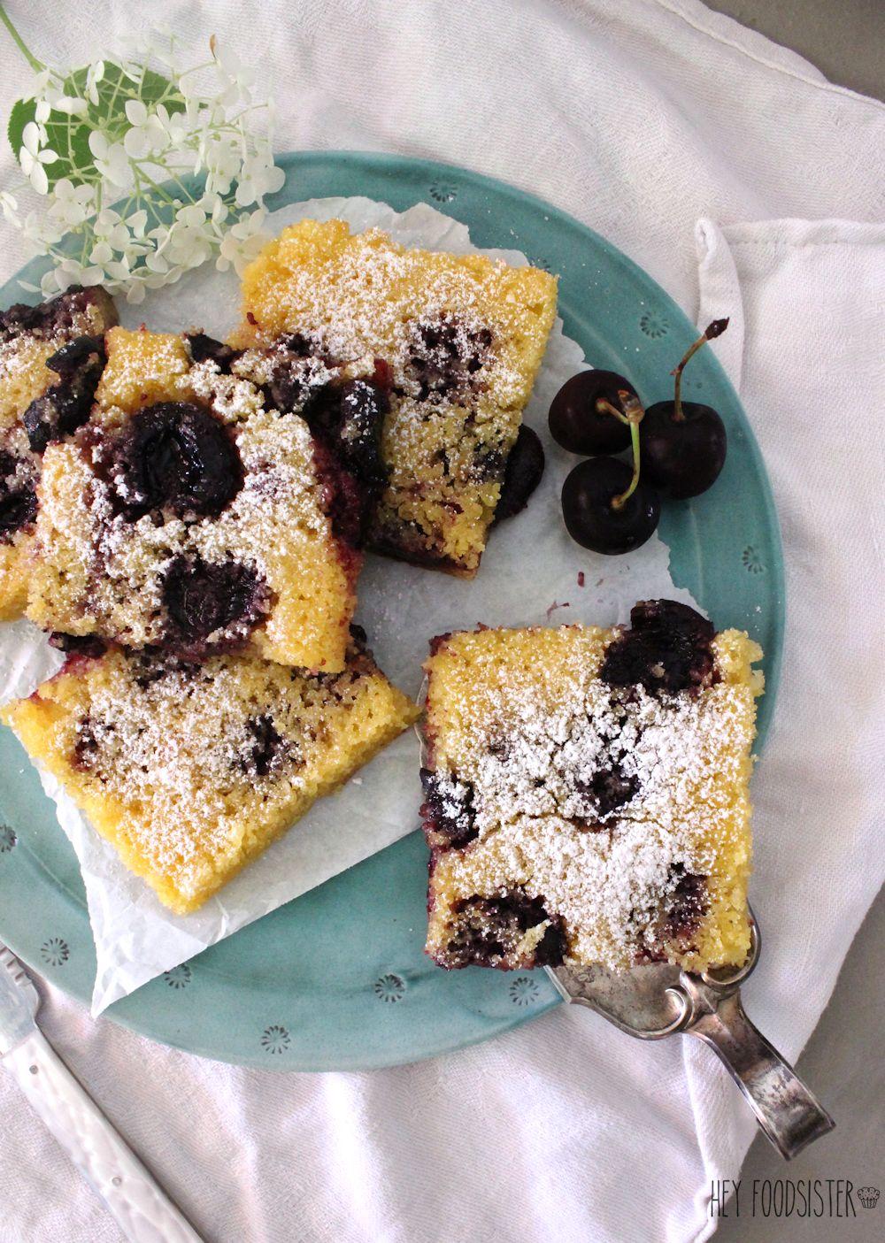 Rezept für einen Polenta Kirsch Kuchen Hey Foodsister