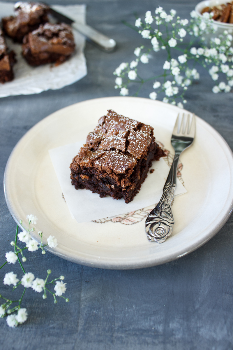 Rezept für Salted Caramel Pekanuss Brownies