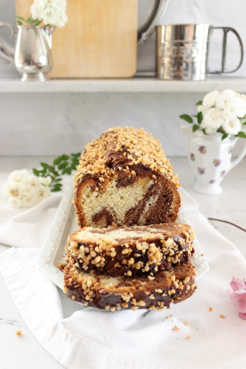 Rezept für einen Nuss Marmorkuchen mit Krokant
