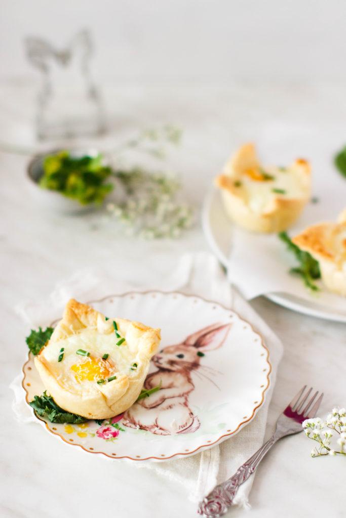 Eier im Blätterteignest