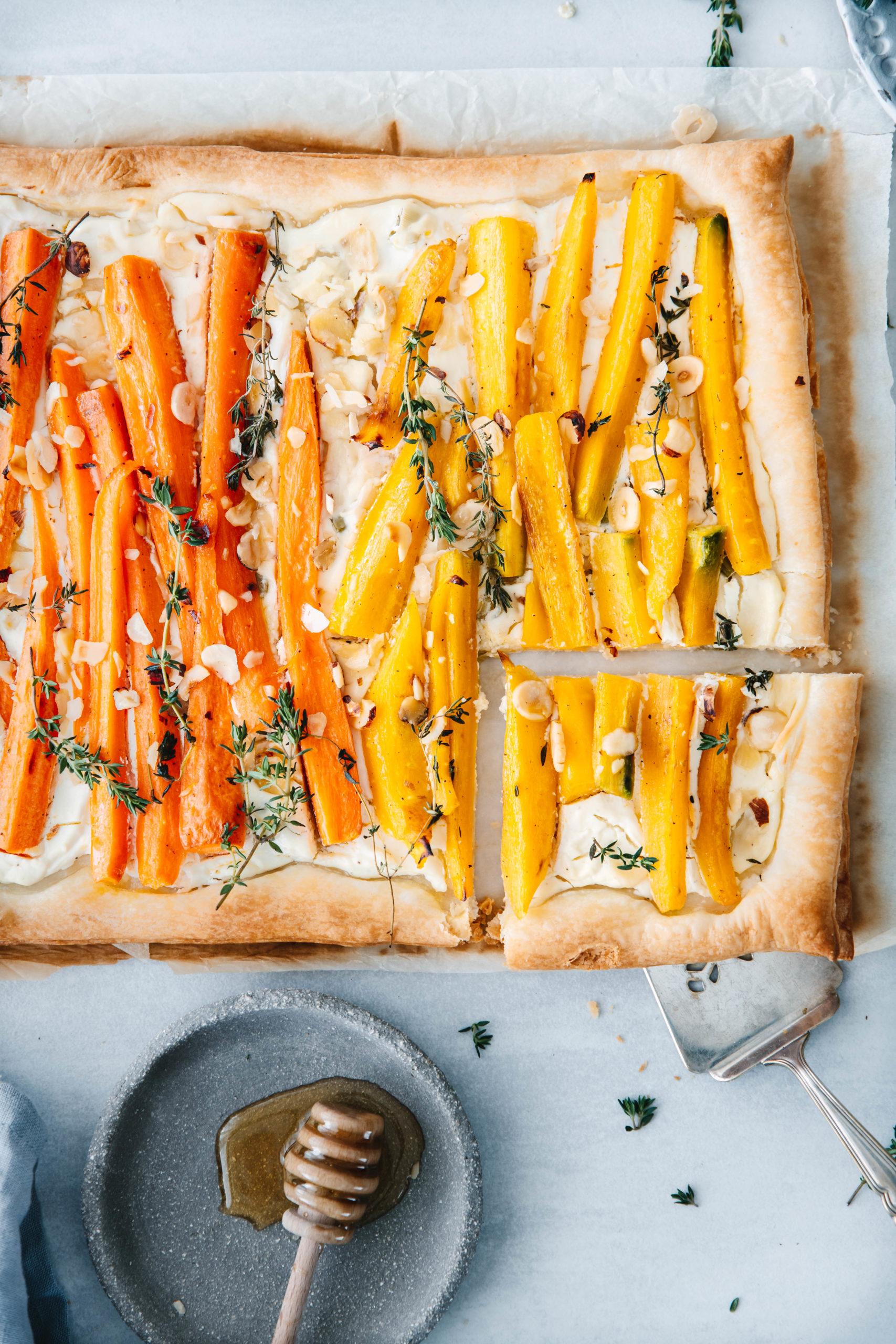 Karottentarte mit Ziegenfrischkäse