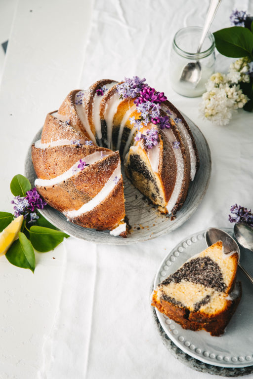 Zitronen Mohn Marmorkuchen